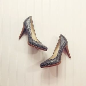 Faux Snake Animal Textile Leather Pump Gray Heel